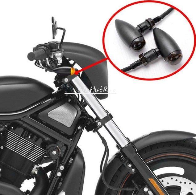 Bullet Black Motorcycle Turn Signal Indicator Lights For Harley Chopper Bobber