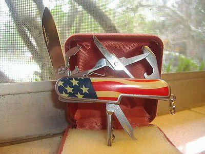 Vintage McGard Advertising~American Flag Swiss Multi Tool Knife~Stainless