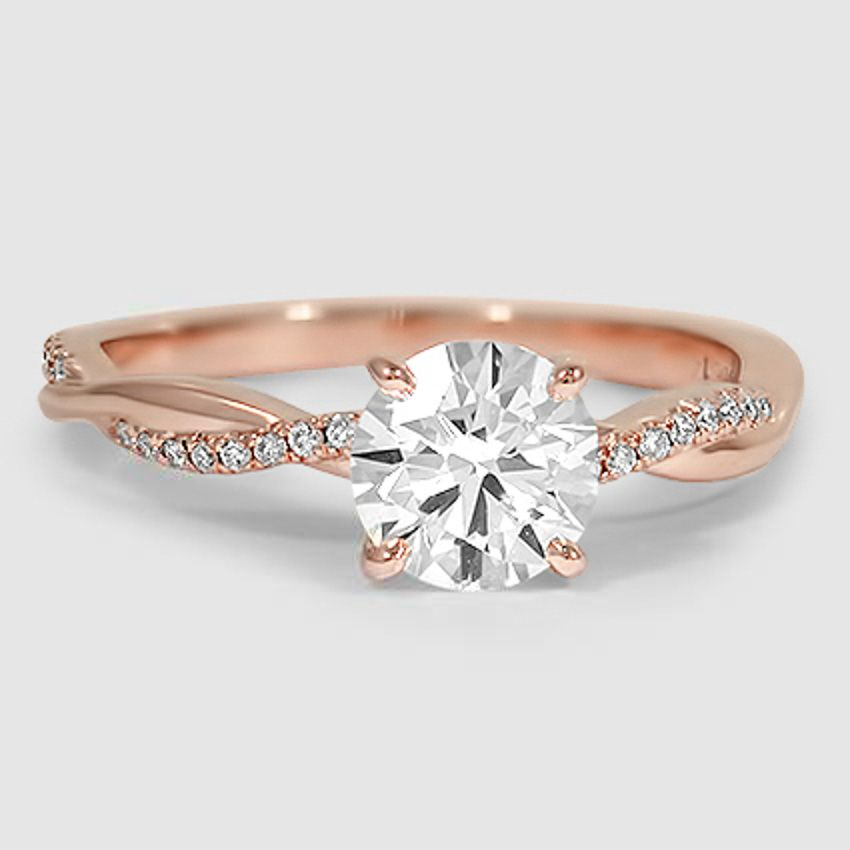 14k Rose Gold Petite Twisted Vine Diamond Ring In 2018 Engagement