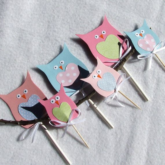 Little Owl Cupcake Toppers Picks And Or Cake By