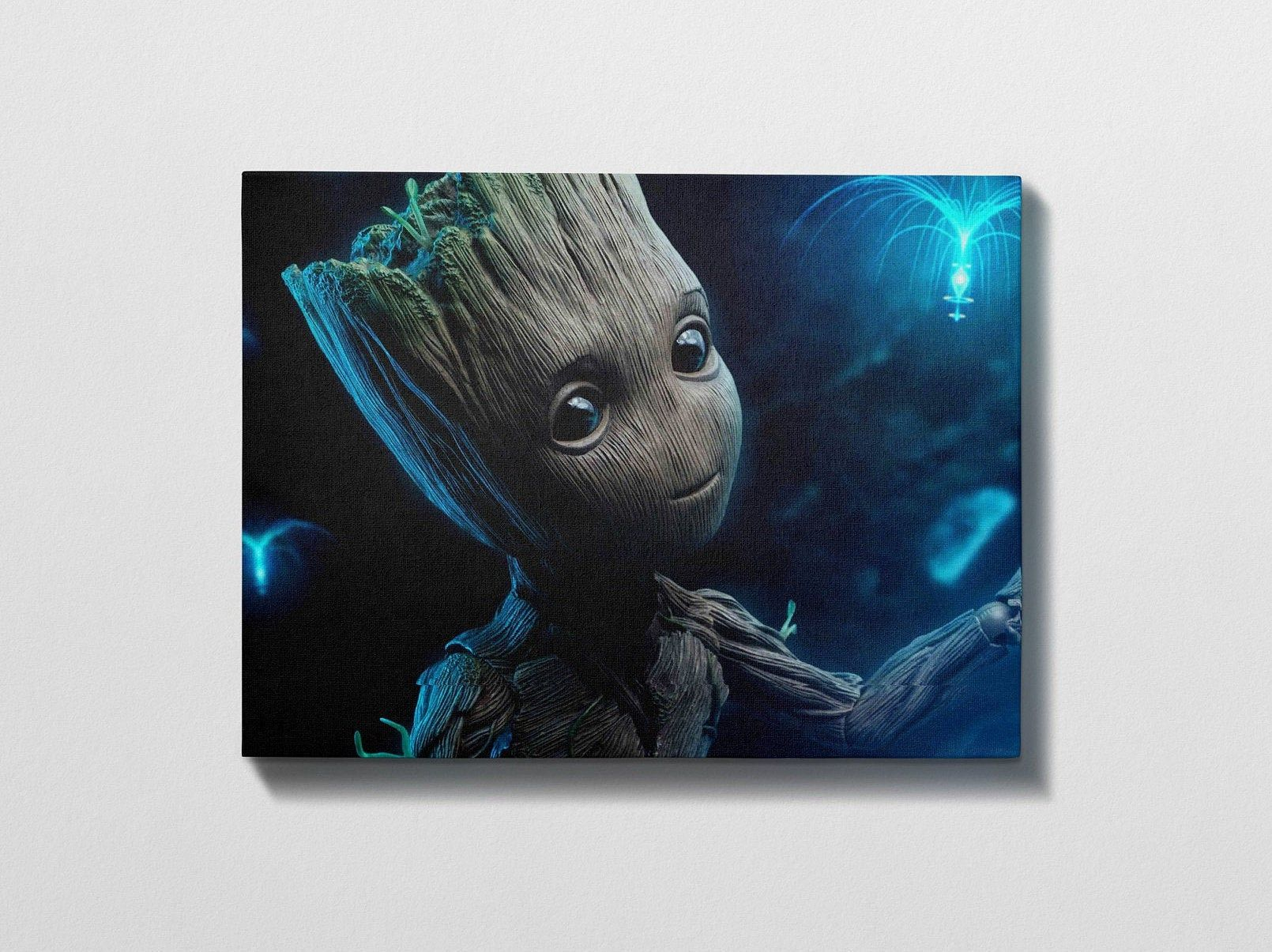 Guardians Of The Galaxy Groot Movie Art High Quality Etsy Movie Art Art Canvas Wall Art