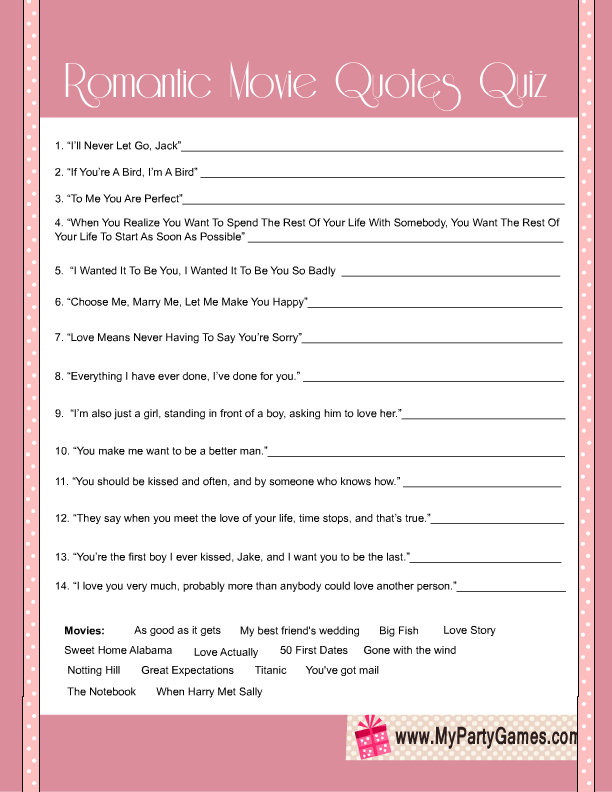 Quotes Quiz Best Free Printable Bridal Shower Romantic Movie Quotes Quiz  Free