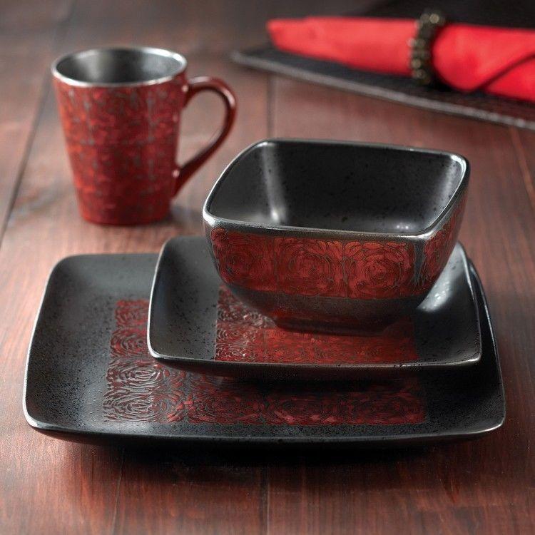 Red Black Dish Set Dinnerware Square Plates 16 Piece Bowls Mugs