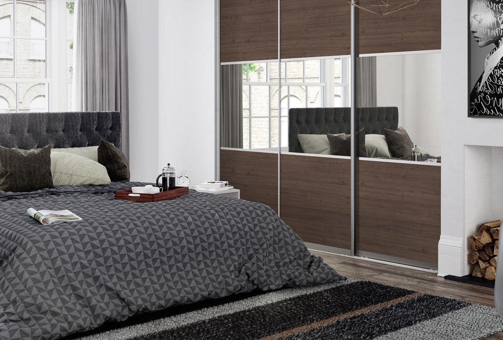 3 panel mirrored sliding closet doors - Sliding Wardrobe Doors Premium Midi 3 Panel Tortona Chestnut Mirror Doors With Satin Silver Frame