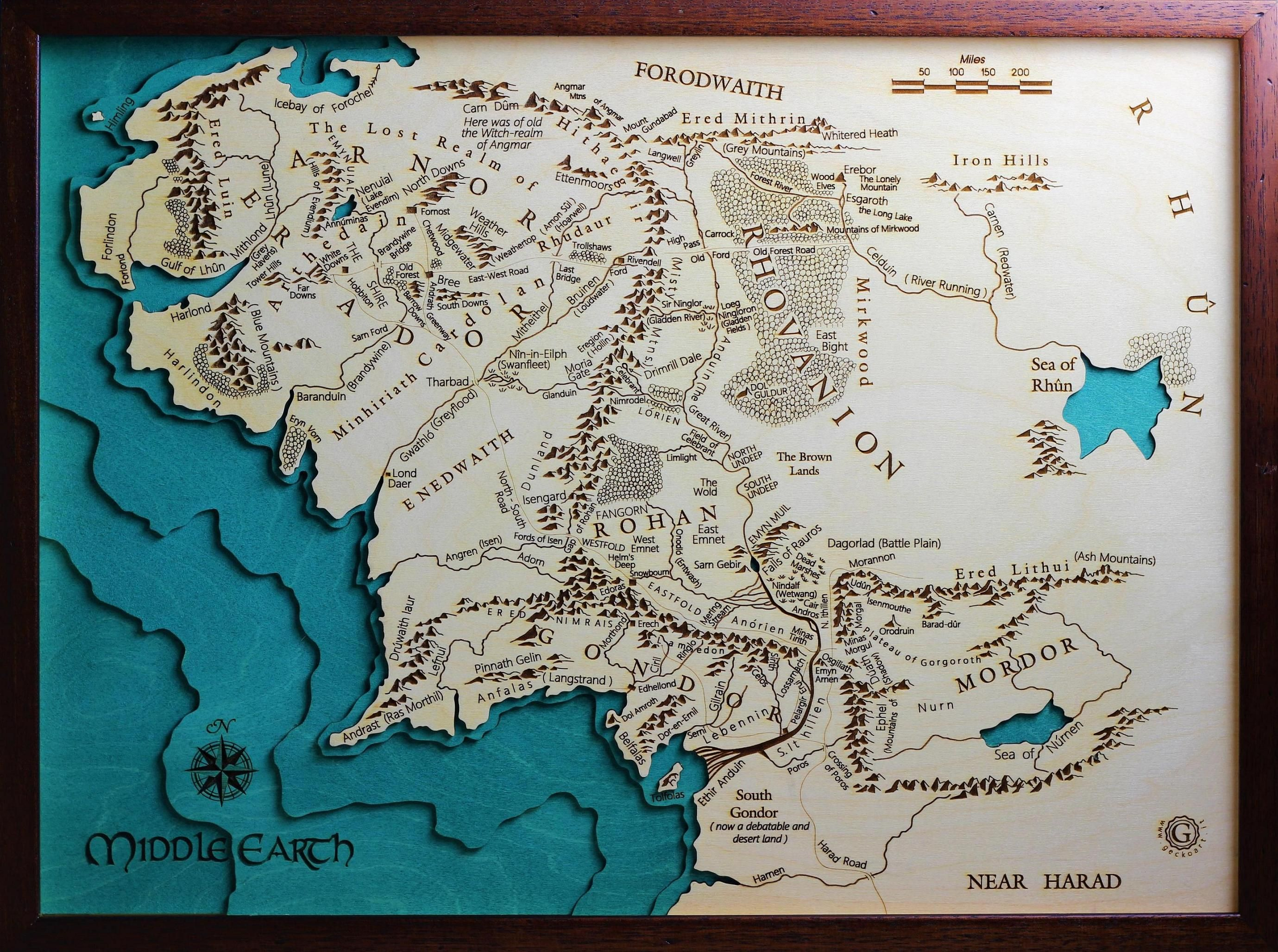 3D Middle Earth Map Wooden Craft And Hand Painted