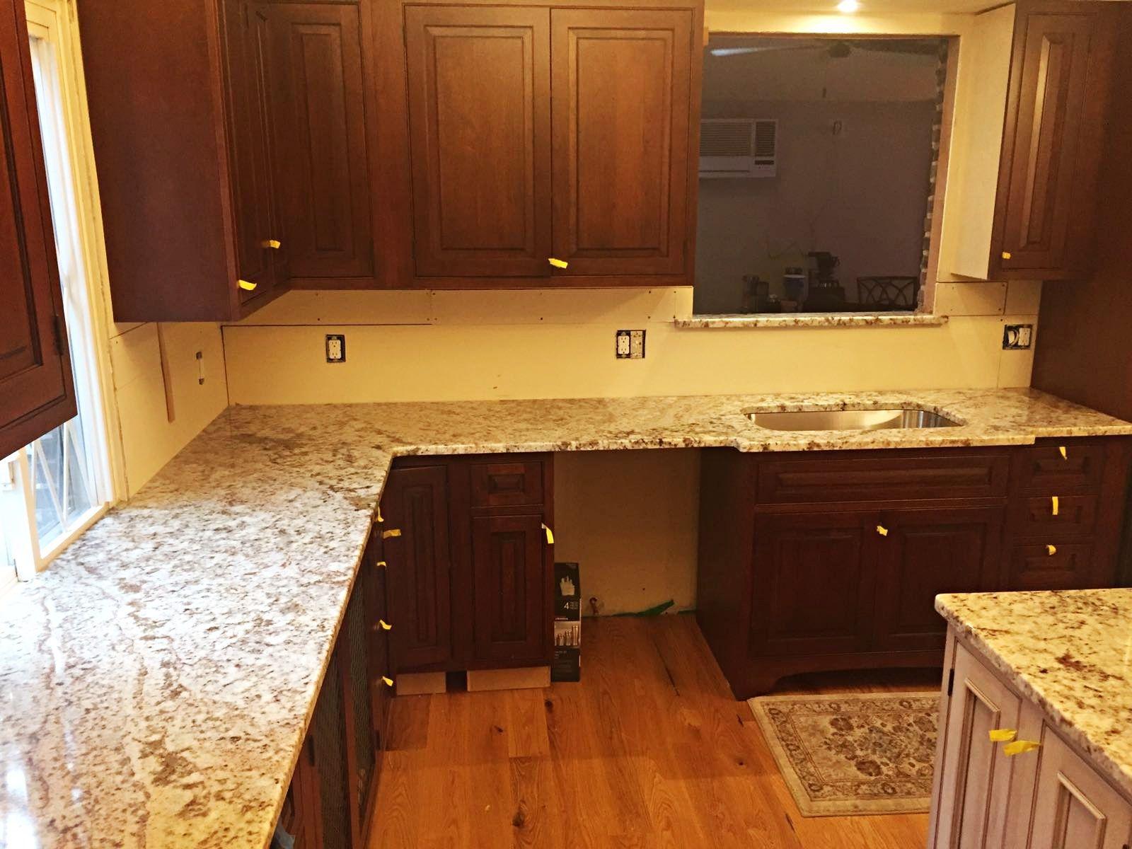 Galaxy White Granite Countertop Installation Project In Clifton Nj Installing Granite Countertops Granite Countertops Granite Countertops Kitchen