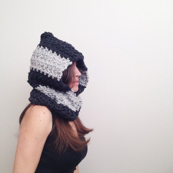 I love stripes!! Super chunky and SUPER warm, hand crocheted hooded cowl. Wooden buttons for a finished look.    One size fits most :)