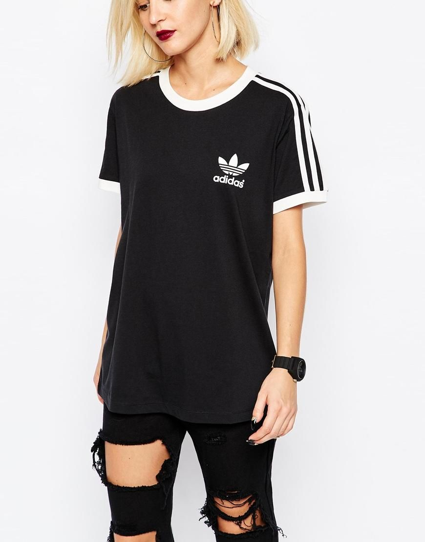 adidas 3 Stripes Tee in Black | Striped tee, Adidas outfit