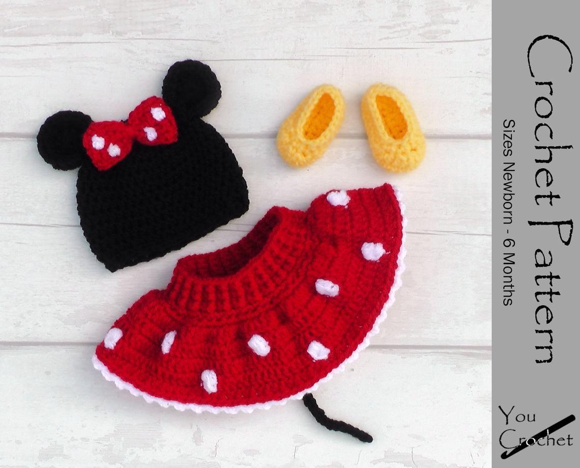 Crochet Pattern Minnie Mouse Hat Diaper Cover Skirt Set Instant