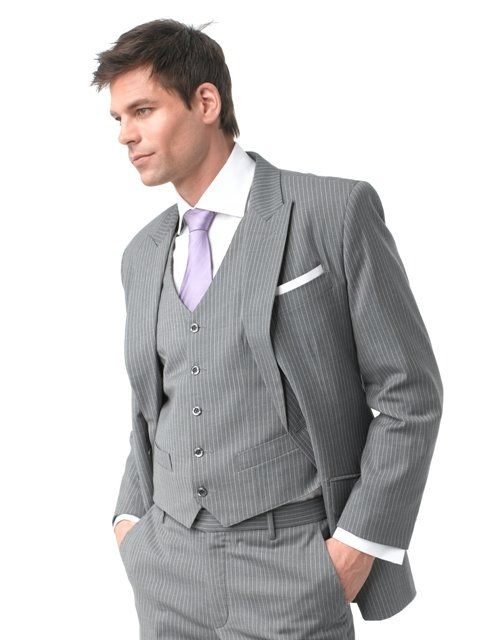 Groom Grey Suit Lilac Tie Ivory Pocket Square Ideas For