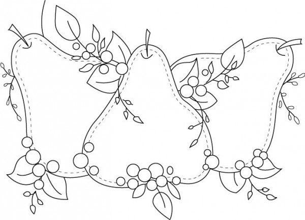 Dibujos para pintar en tela frutas   Peras   Dibujos para recortar ...