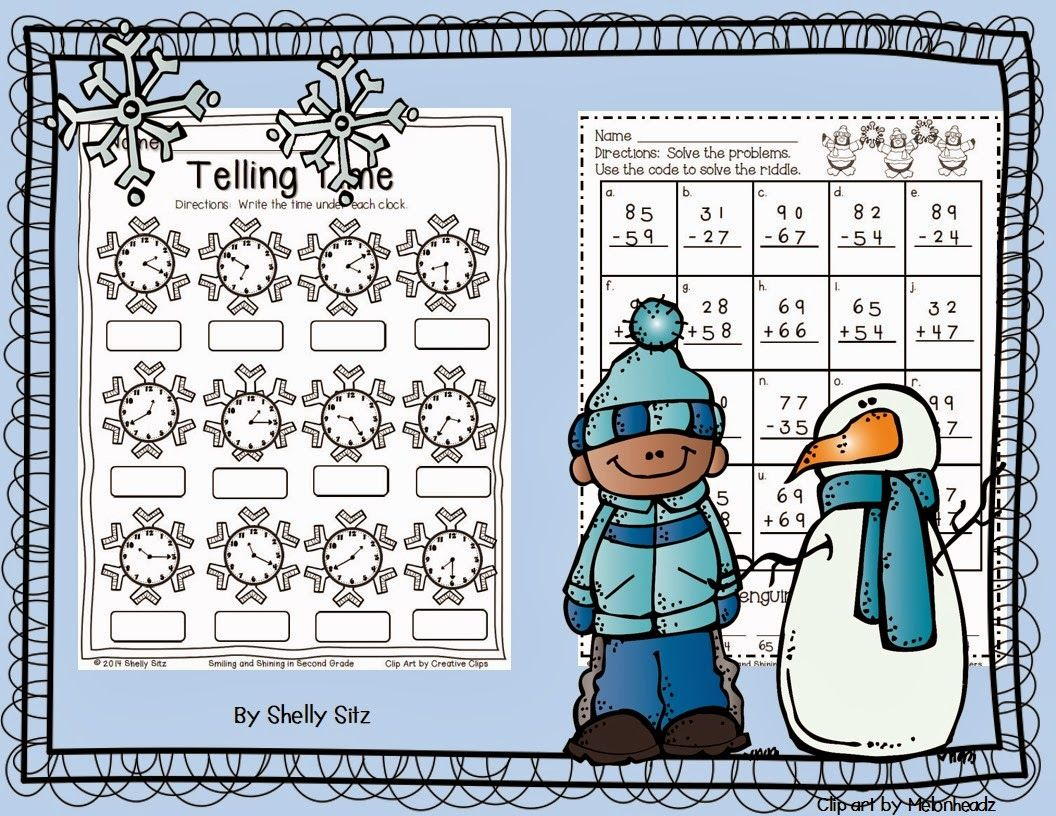 Free Winter Math Printables Telling Time And Addition Amp Subtraction With Regrouping 2nd Grade
