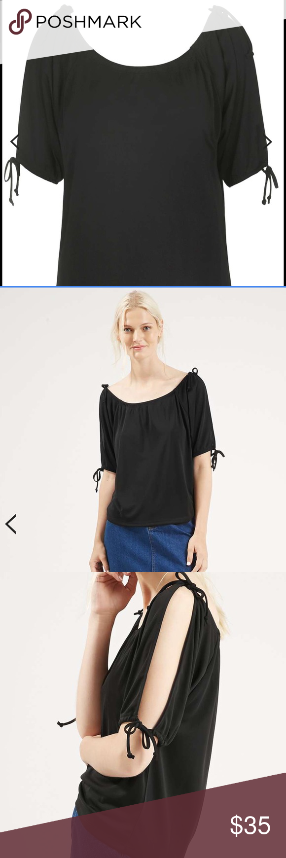 Topshop Top Relaxed top. Ties at the shoulders and sleeves for a contemporary silhouette. 100% Polyester. Machine wash. Topshop Tops Blouses
