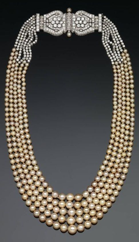 3a593374b27a0a An Art Deco pearl necklace, by Cartier, 1920s. An elegant example of the