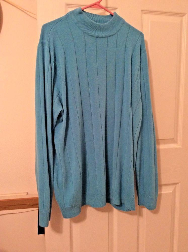 be62f993b9 DENIM 24 7 Womens Plus Size 1X Aqua Green Knit Sweater Top Long Sleeve Pull