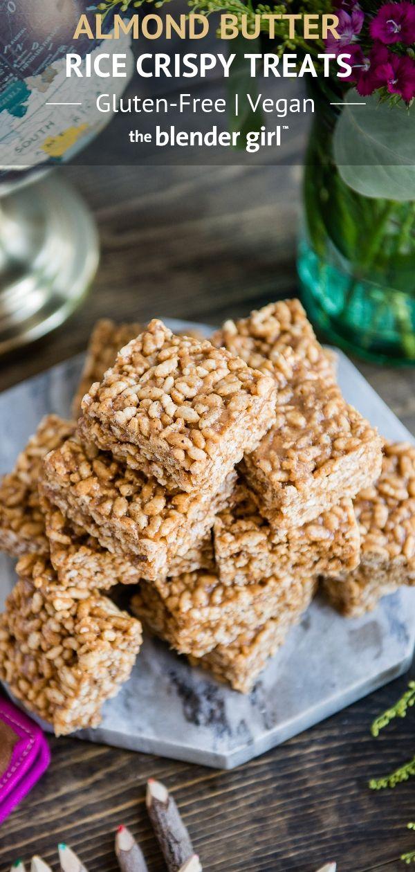 Healthier Rice Crispy Treats Recipe {Vegan + GF} - The Blender Girl #crispytreats