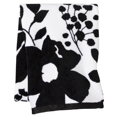 Room Essentials Floral Hand Towel BlackWhite Bath Towel - Floral bath towels for small bathroom ideas