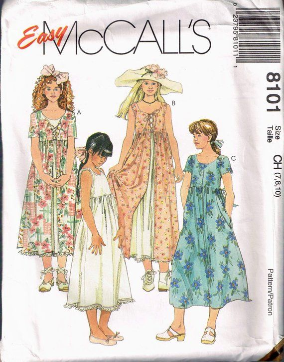12045a153287 Size 7-10 Girls Easy Dress   Slip Sewing Pattern - Lace Up Front ...