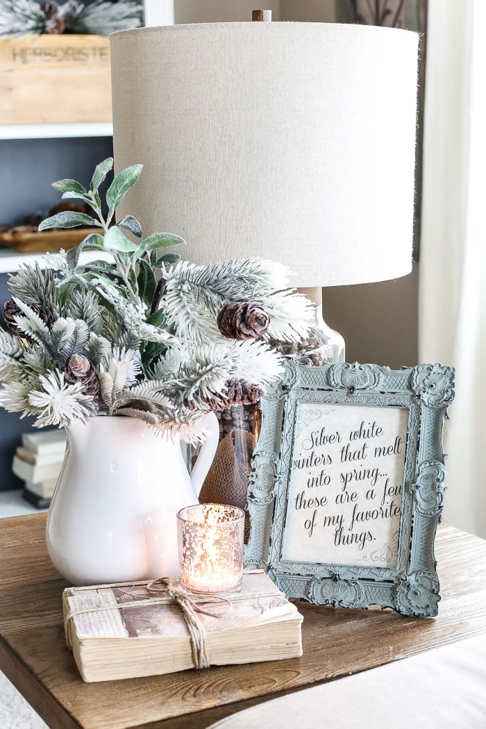 After-Christmas Winter Mantel and Living Room #winterdecor