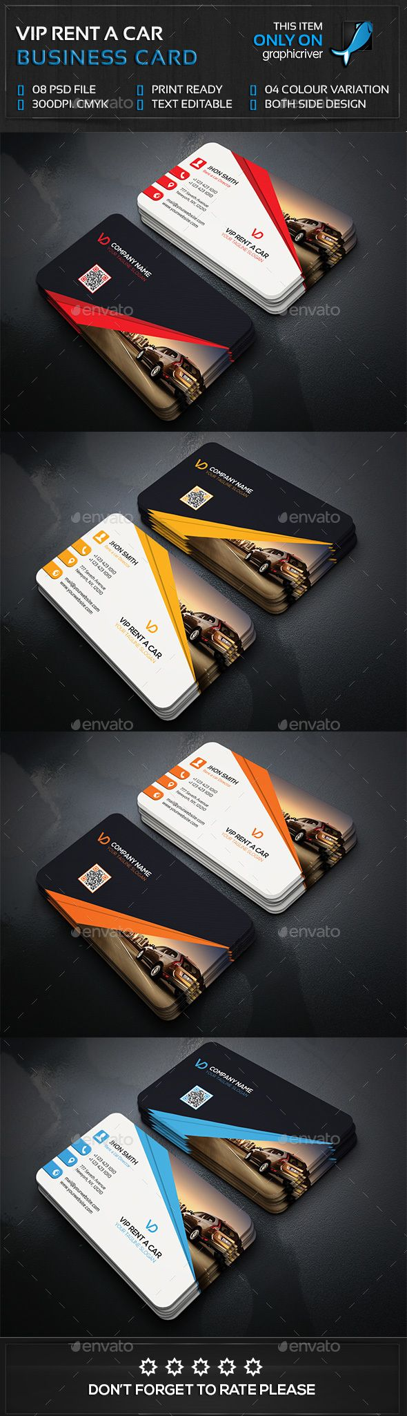 rent a car business card photoshop psd modern high quality