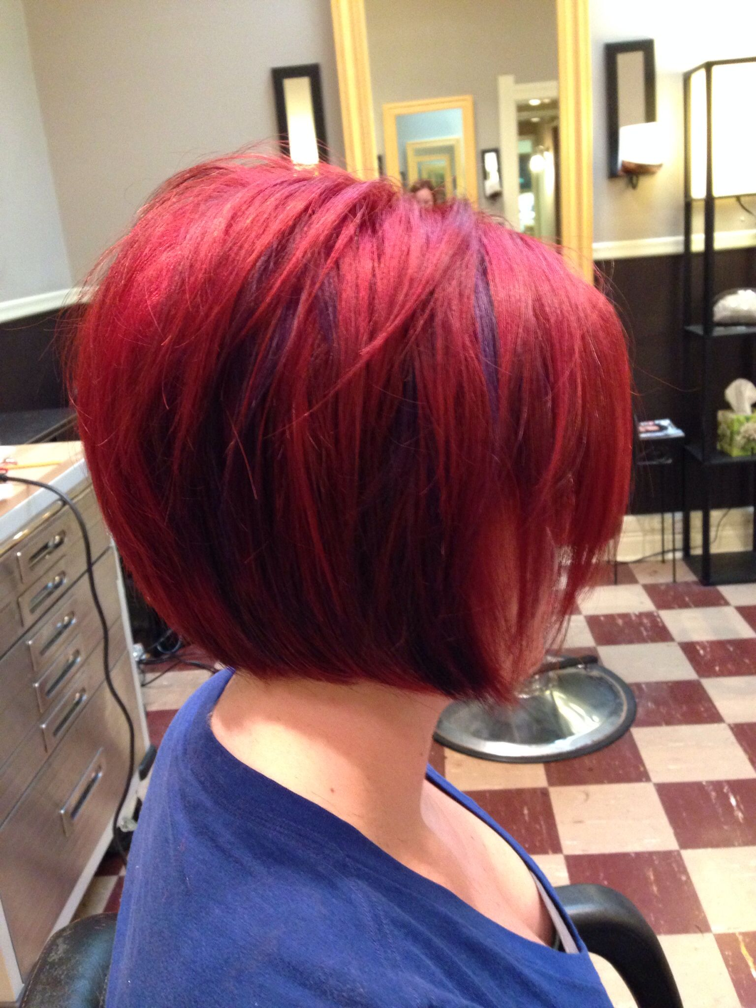 Fire Engine Red With Purple Peekaboo Highlights Short Bob Hair Short Bob Hairstyles Hair Affair Hair Inspiration