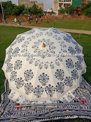 Wood Hand Block Printed Garden Umbrella