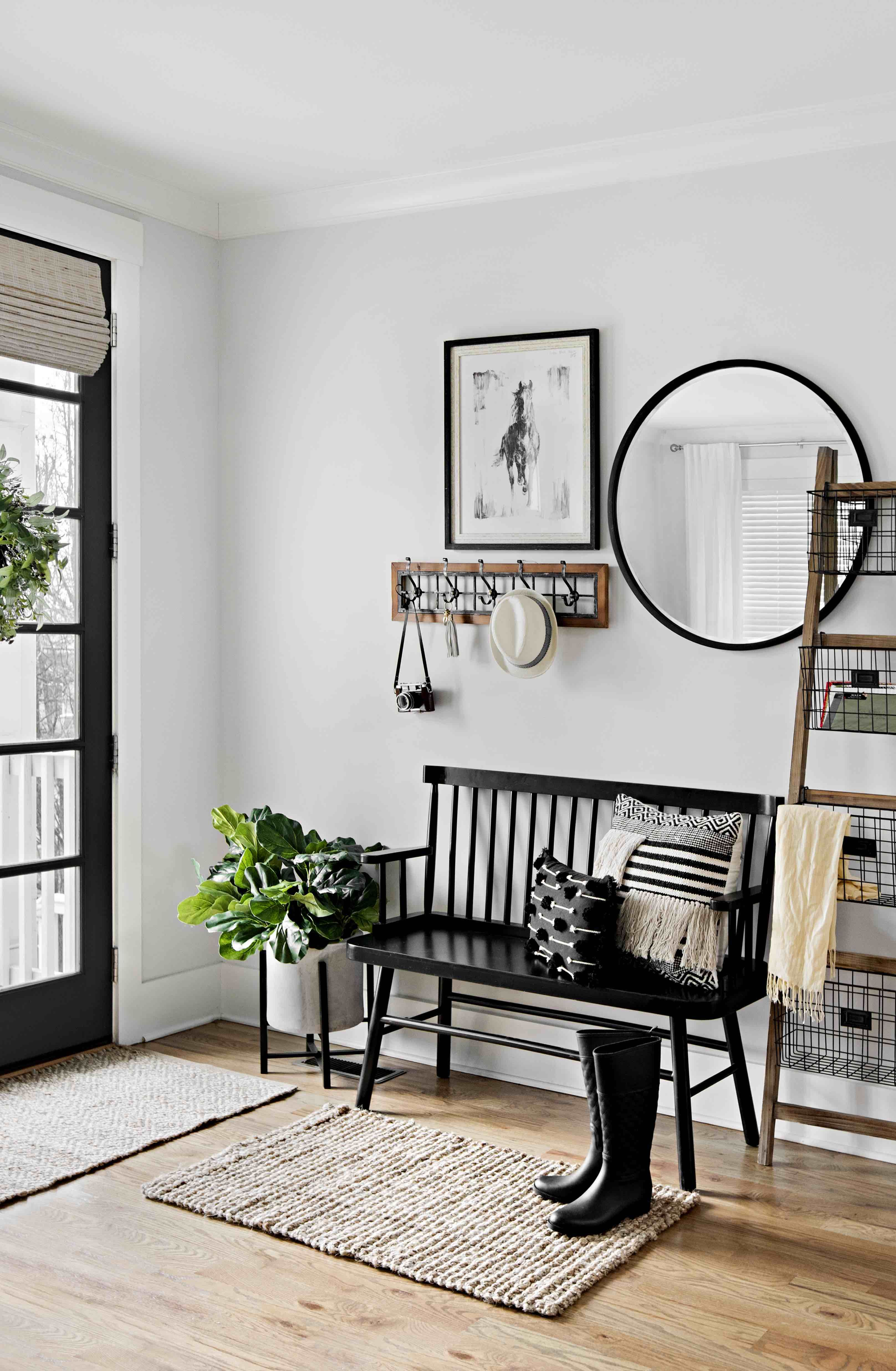 Refresh Your Entryway With A Gorgeous Indoor Bench A Round Mirror And Other Neutral Pieces That Add T Entryway Inspiration Entryway Furniture Foyer Decorating