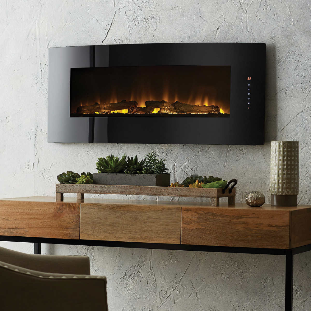 Cassie 42 Curved Wall Mount Electric Fireplace Wall Mount