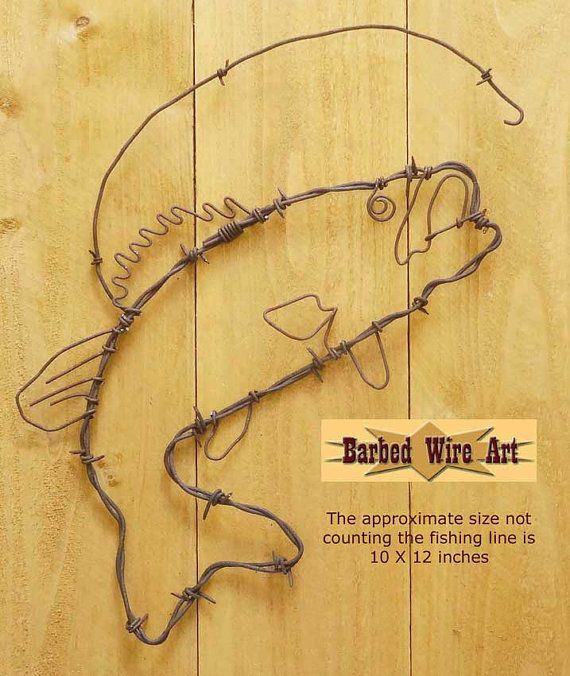 Bass Fish - Handmade metal decor barbed wire art country western ...