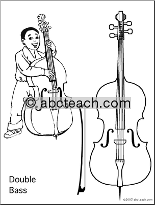Coloring Page: Double Bass - preview 1 | Kid Stuff | Pinterest
