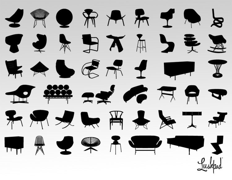 Modern Furniture Clipart Collections by LushPad Interiors