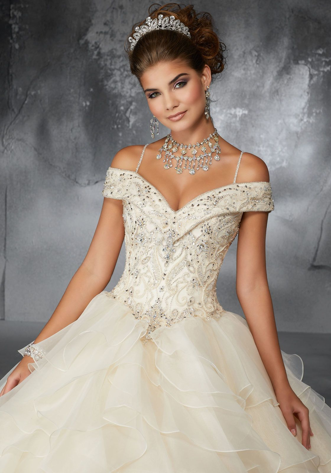 a2fe1a98016 Beaded Embroidery on a Flounced Organza Ballgown with Cold-Shoulder  Princess Neckline