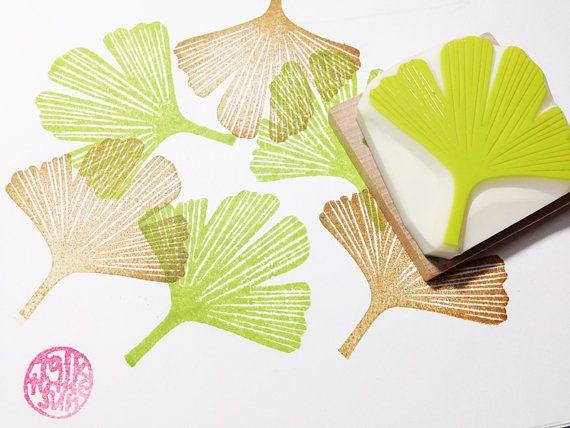 Ginkgo Leaf Rubber Stamp Woodland Botanical Hand