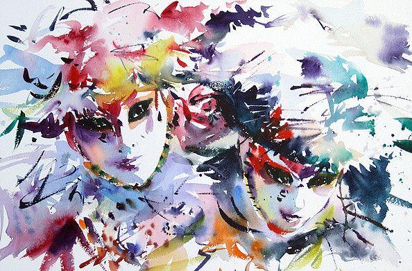 Tableau Acrylique Carnaval De Venise Masque Aux Levres Bleues