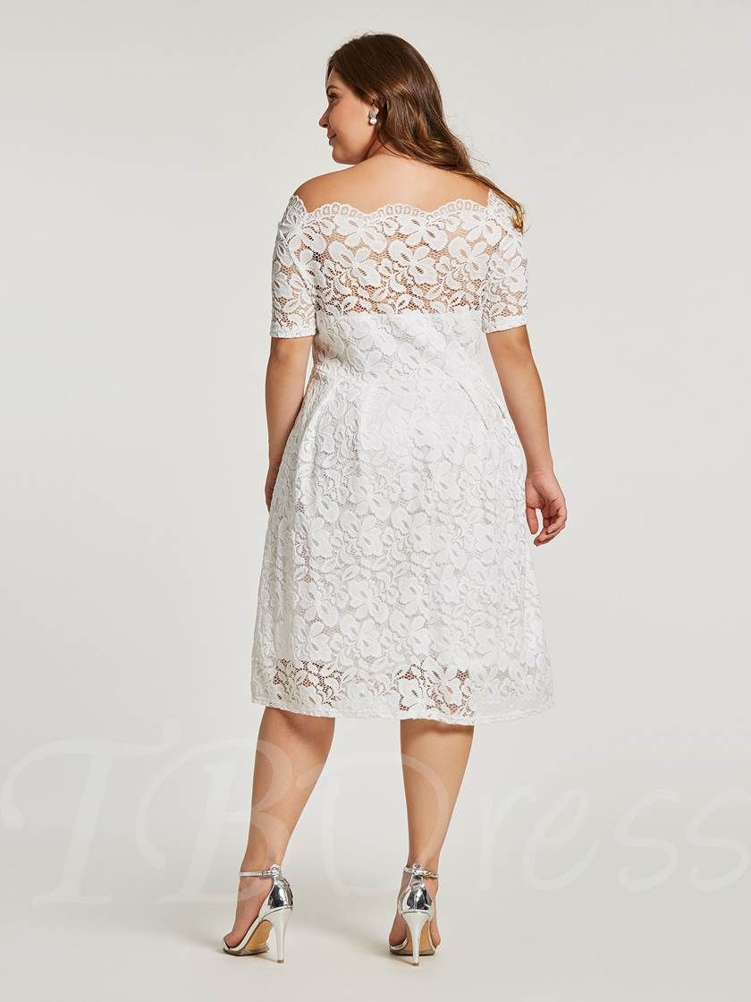 fcdc2f23709 Plus Size White Lace Short Sleeve A-Line Dress