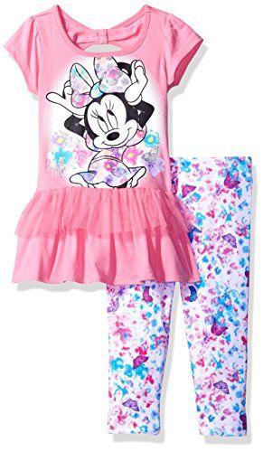 Disney Little Girls Minnie Mouse Toddler 2 Piece Dress Legging Set