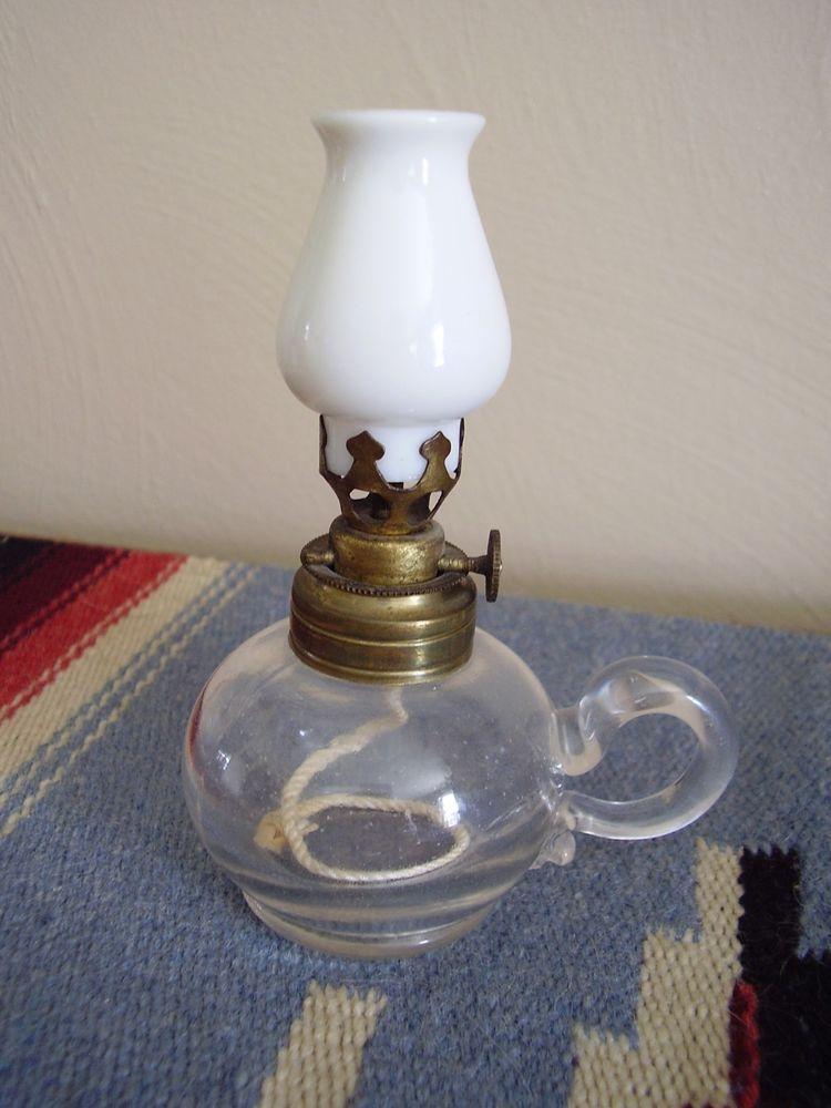 Miniature Antique Oil Finger Lamp Embossed Evening Star Original Shade 1800 S Oil Lamps Lamp Novelty Lamp