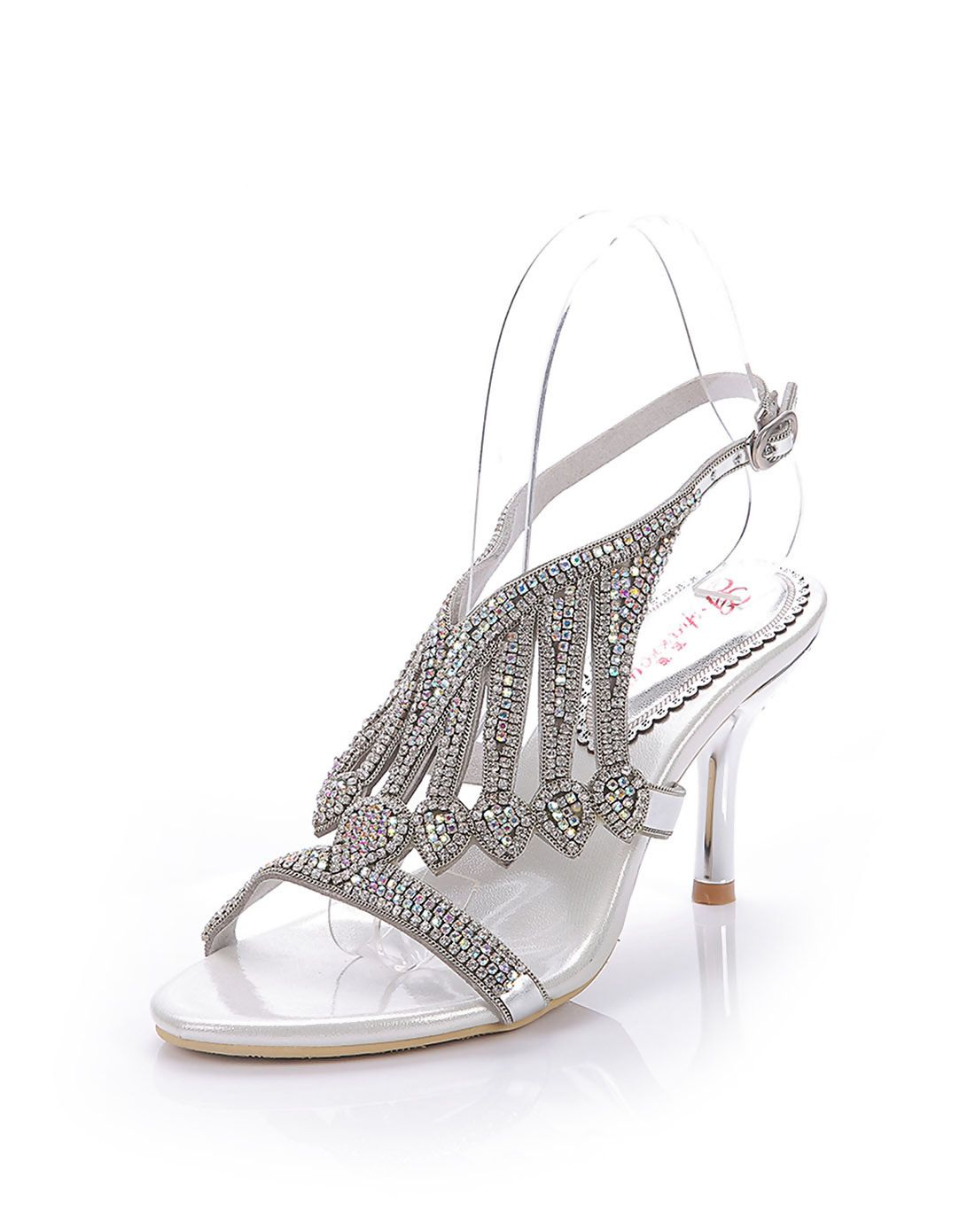 6419728dc8e8  AdoreWe  VIPme Sandals - G·Sharrow Diamond Stiletto Heel Sandals Slingback  Party Silver