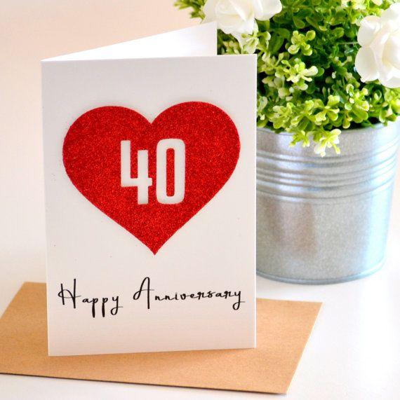 Ruby Wedding Gift Ideas For Husband: 40th Wedding Anniversary Card Ruby Wedding Anniversary