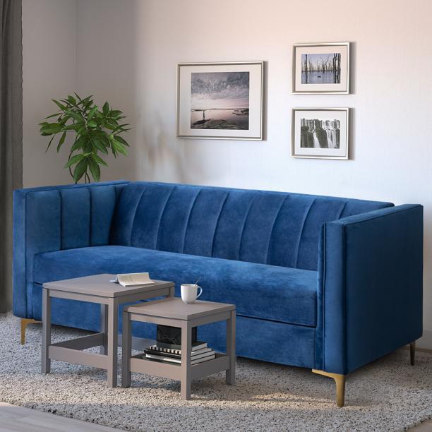 Walnew 71 Velvet Square Upholstered Sofa With Armrest Living Room Couch Navy Blue Walmart Com Couches Living Room Blue Sofas Living Room Upholstered Sofa