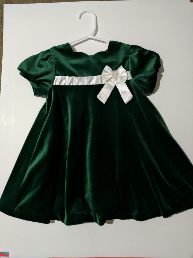 Baby girl Christmas dress party wedding dress green/white 24M | eBay