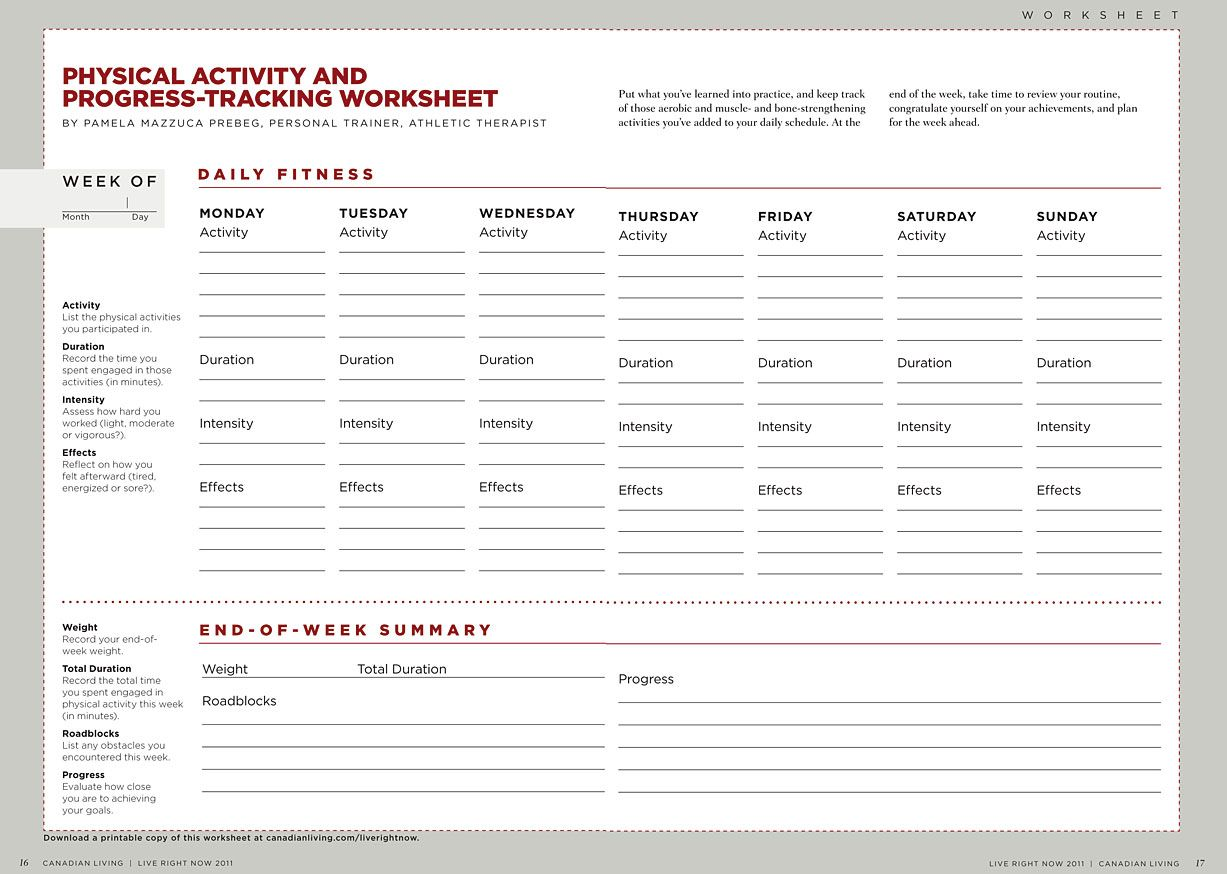 Worksheets Fitness Goals Worksheet fitness nutrition exercises and workout physical activity progress tracking worksheet a free download canadian living