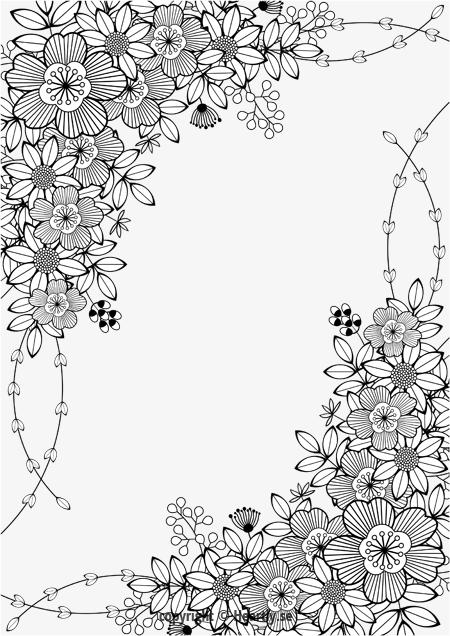 Floral border kleurpboek coloring page book m larbok Coloring book album cover