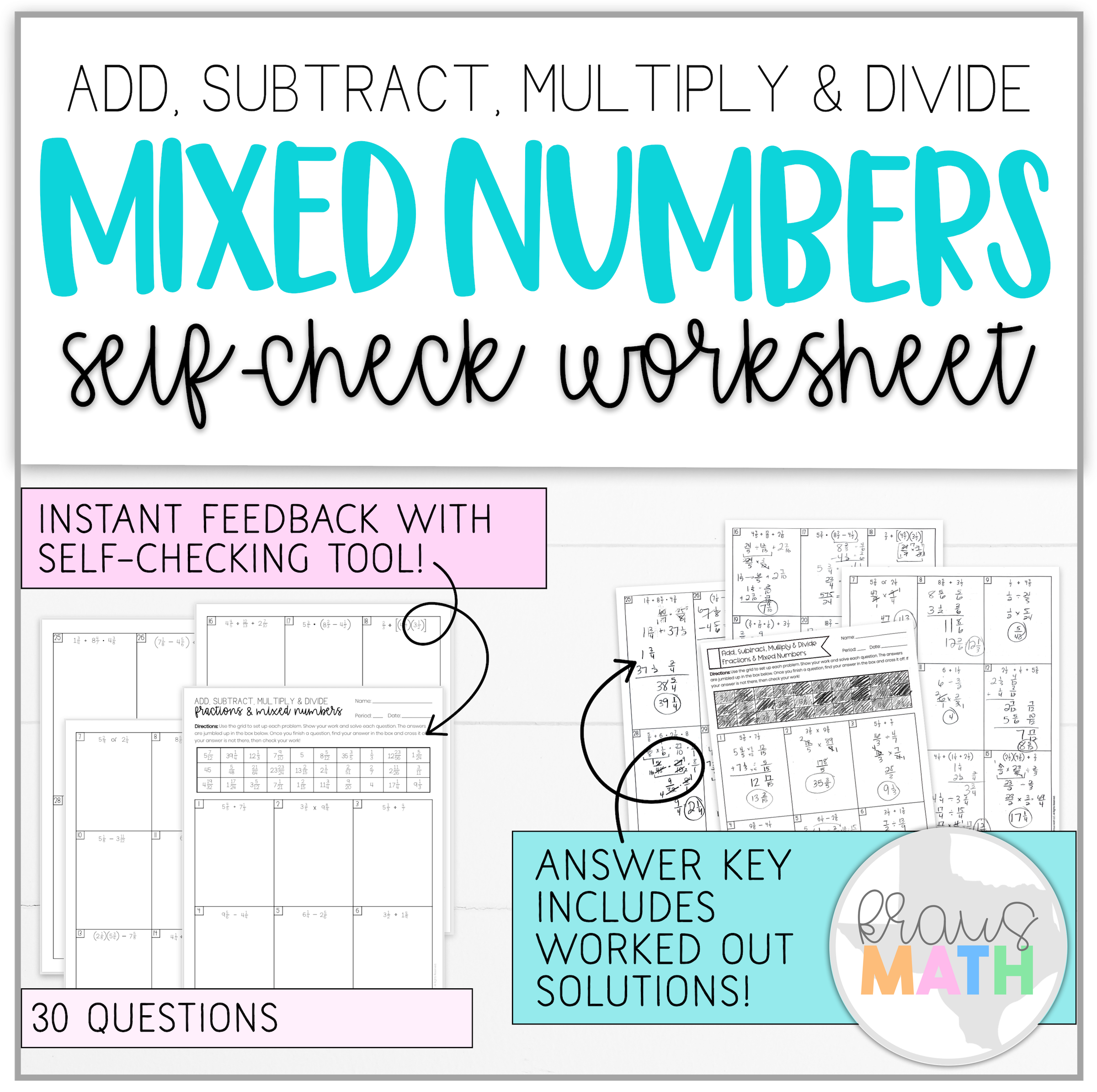 Mixed Numbers Operations Self Check Worksheet