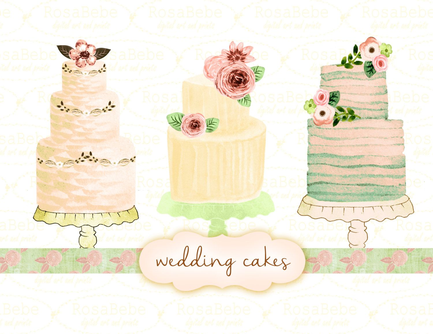 Cake Clipart Wedding Clipart Watercolor Wedding Clipart Rustic