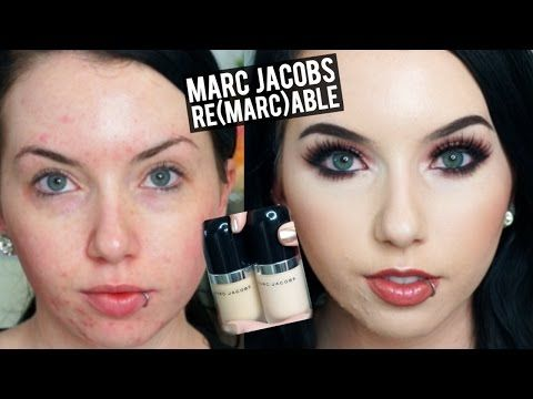 Marc Jacobs Remarcable Full Coverage Foundation Demo Review Pale Acne Prone Skin Makeup Coverage Full Coverage Makeup Acne Makeup Tutorial
