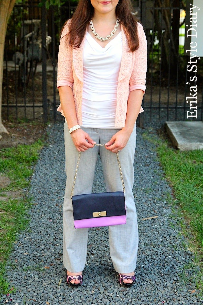 business casual outfit: pink lace blazer and gray pants