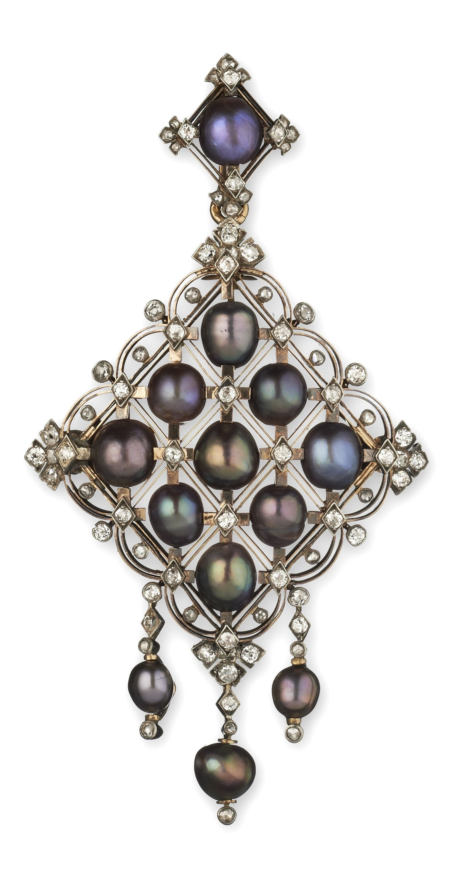 Bapst et falize an antique gold enamel pearl and diamond pendant