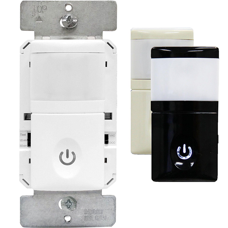 Enerlites Hmos Pir Occupancy Vacancy Motion Sensor Wall Switch Smart Led Night Light 3 Interchangeable Face Cover Neutral Led Night Light Motion Sensor Led
