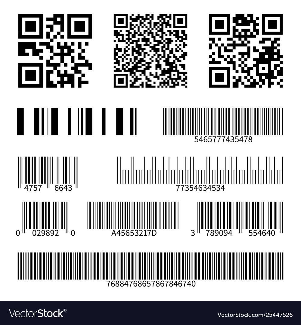 Barcodes supermarket scan code bars and qr codes Vector
